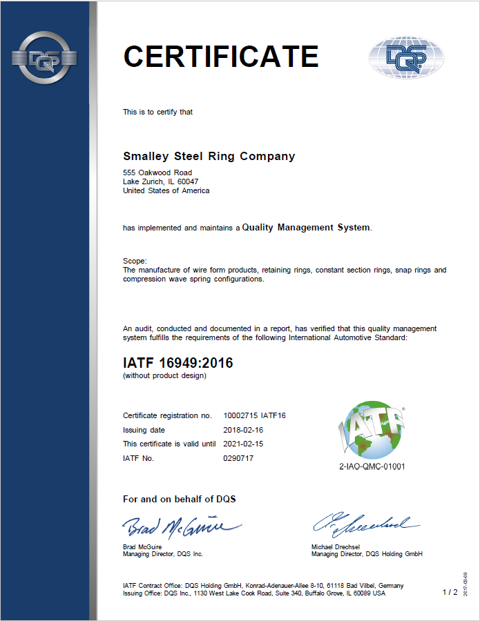 Smalley attains IATF 16949 Certification | Smalley