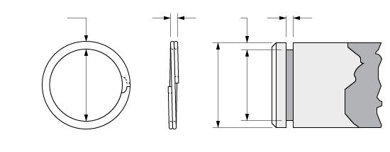 Illustration of an External Spirolox Two-Turn Retaining Ring without a Crimp