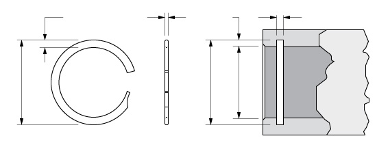 Illustration of an Internal Spirolox Single Turn Retaining Ring