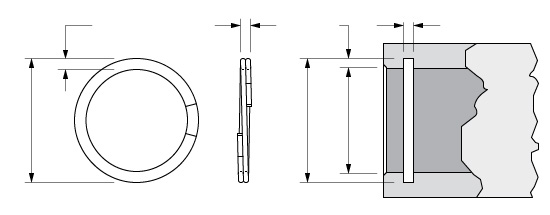 Illustration of an Internal Spirolox Two-Turn Retaining Ring without a Crimp or Removal Notch