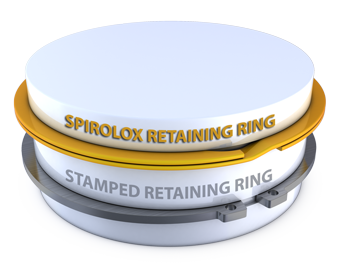 Spirolox Retaining Ring compared to a stamped retaining ring